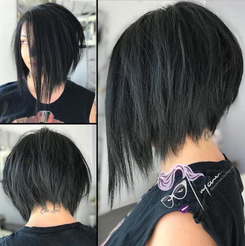 Angled Bob With Razored Ends