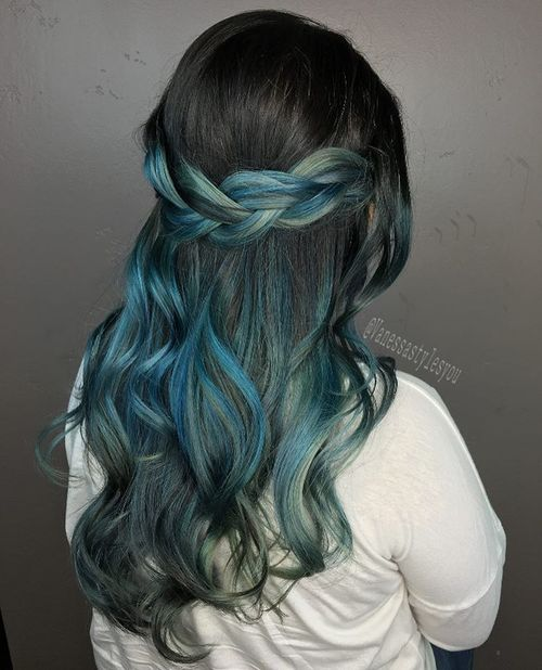 Black Hair With Pastel Blue Ombre