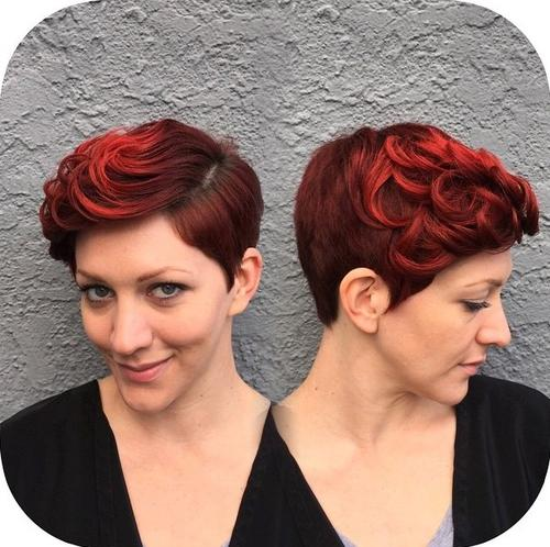 Blonde Red Brown Ombre Ed And Highlighted Pixie Cuts