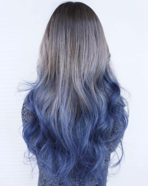 Ash Brown To Blue Ombre