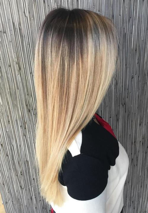 long straight blonde balayage hair