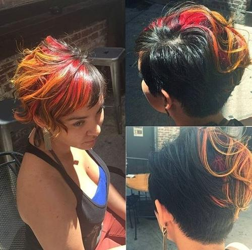 black pixie haircut with multi-colored bangs