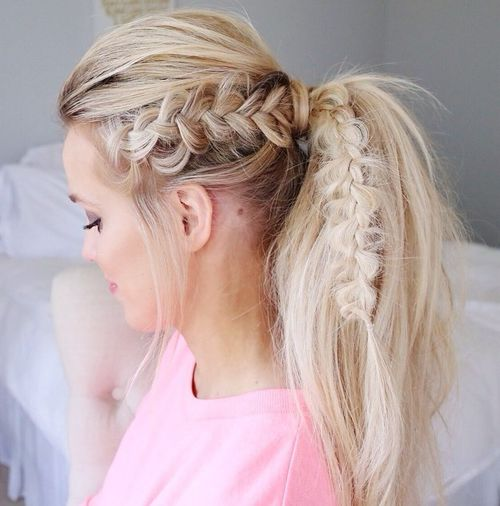blonde tousled ponytail with a bouffant and braid