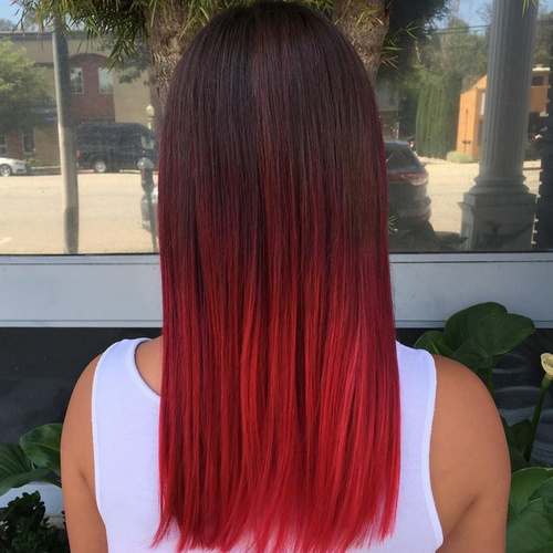 red ombre for straight black hair