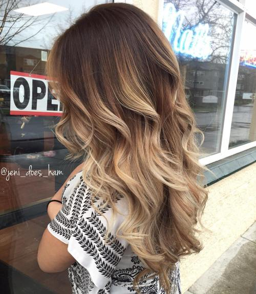 Brown Hair With Beige Balayage