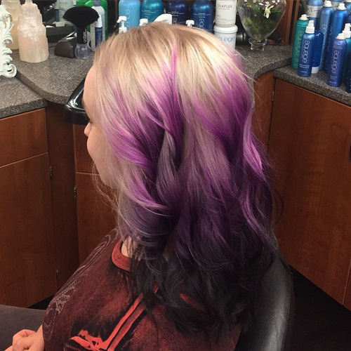 blonde to lavender ombre
