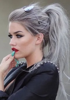 gray hair in messy ponytail