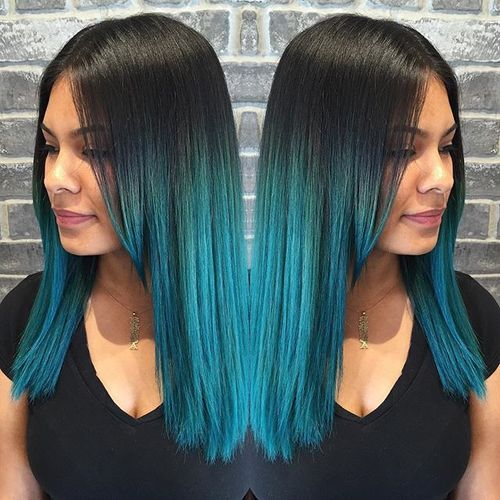 black into blue ombre