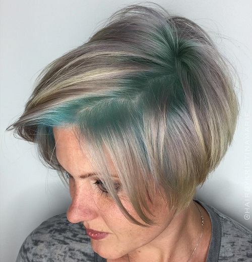 Short Gray Bob With Pastel Green Roots
