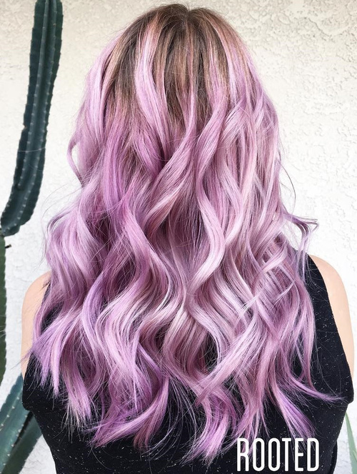 long wavy pastel lavender hair