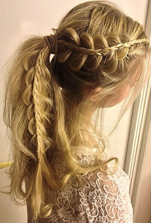messy braided pony for long hair