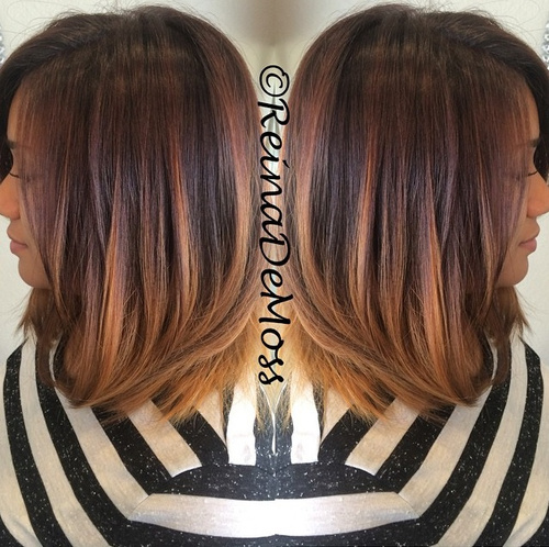 long bob with ombre highlights