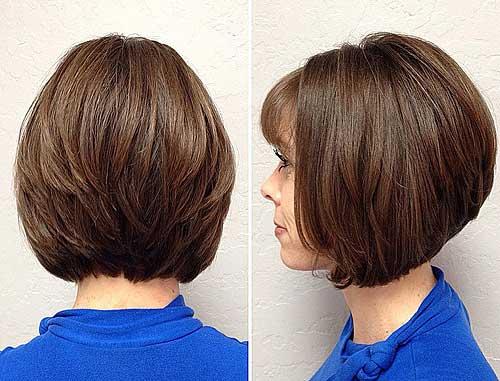 cute layered bob haircut with bangs