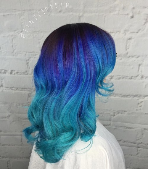 Blue To Teal Ombre Hair