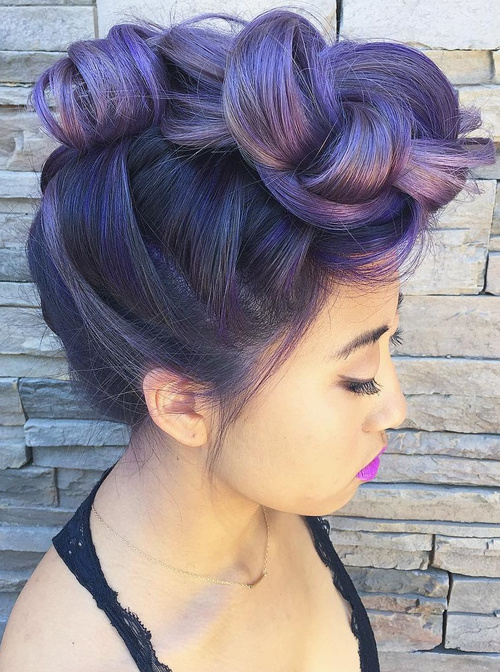 pastel purple ombre for brunettes