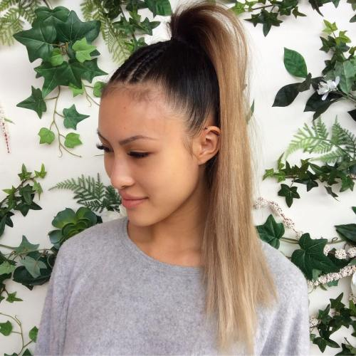 Ponytail With Cornrows For Straight Hair