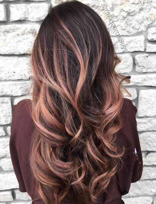 Rose Gold Balayage For Long Brown Hair
