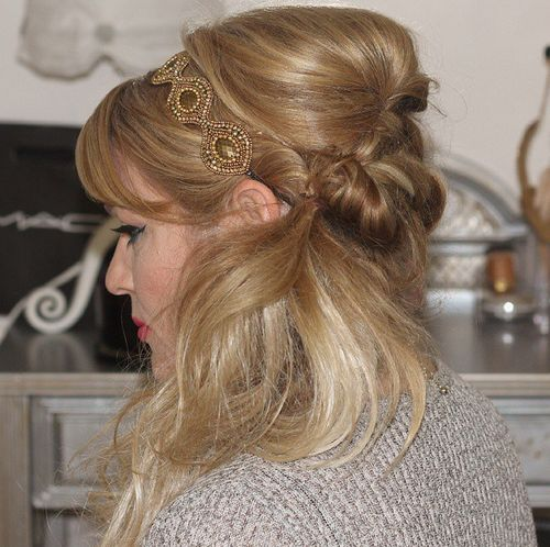 side hairstyle with bouffant, bangs and headband