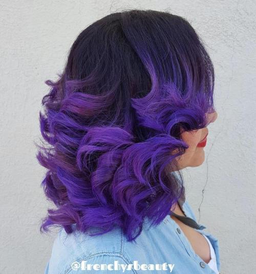 Bright Purple Highlights For Black Hair