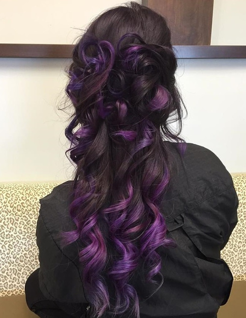 long dark brown hair with purple balayage