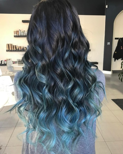 40 fairy like blue ombre hairstyles pastel blue balayage highlights for black hair pmusecretfo Choice Image