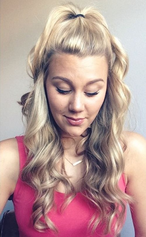 curly half ponytail for blonde hair