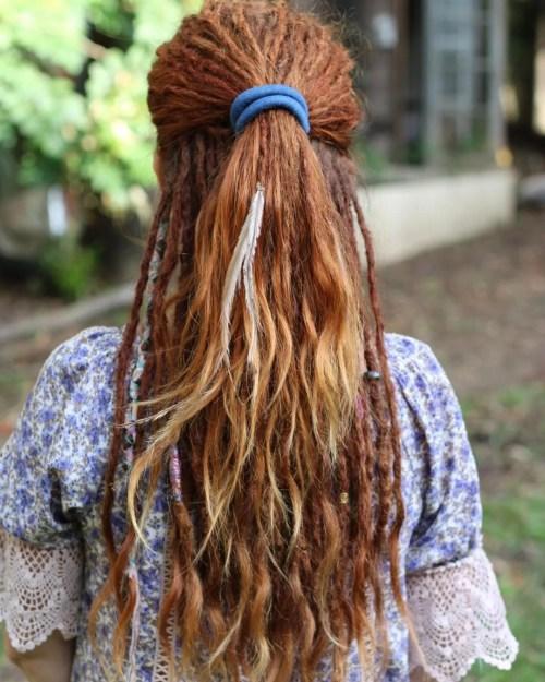 Blue brown dreadlock feather bead