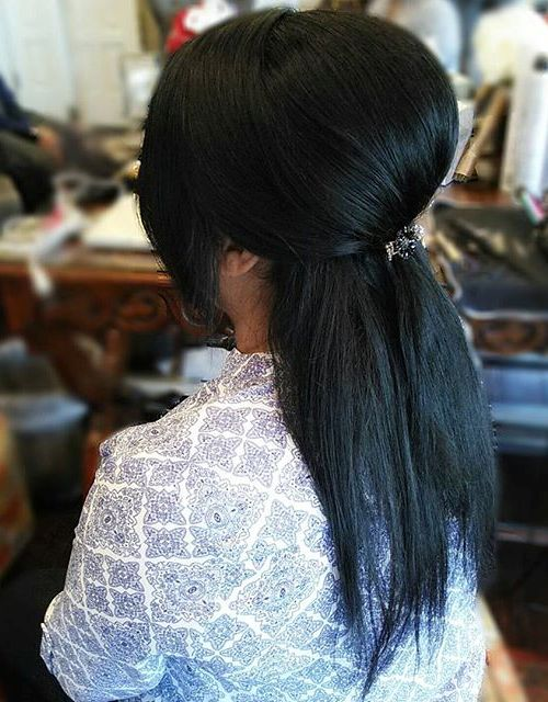 Half Ponytail With A Bouffant For Straight Hair