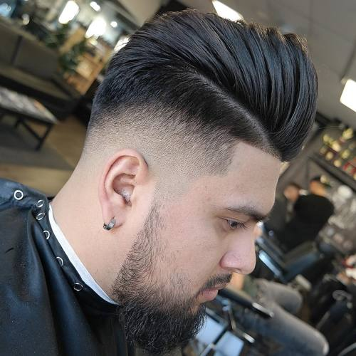 Brushed Back Side Part Taper Fade