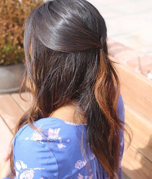 Easy Half Up Half Down Ponytail