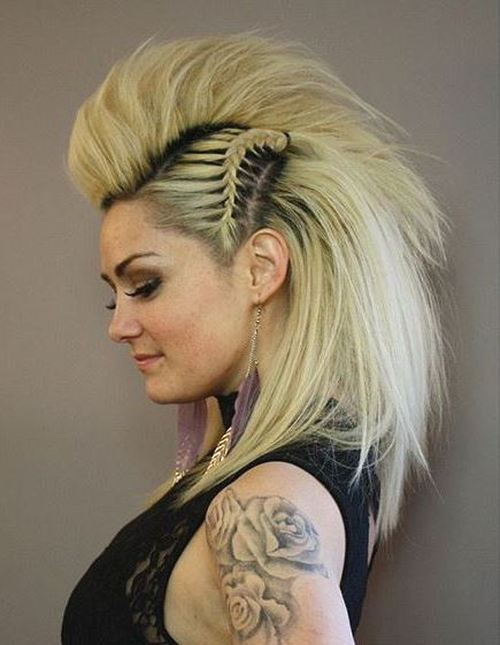 funky blonde mohawk with side braids