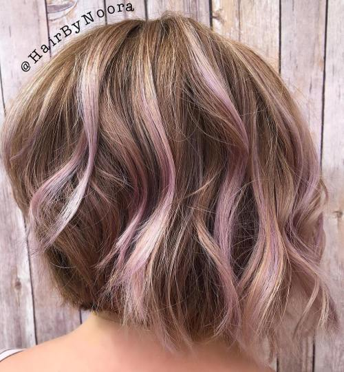 Light Brown Bob With Lavender Highlights