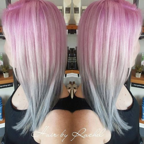 pastel pink to gray ombre hair