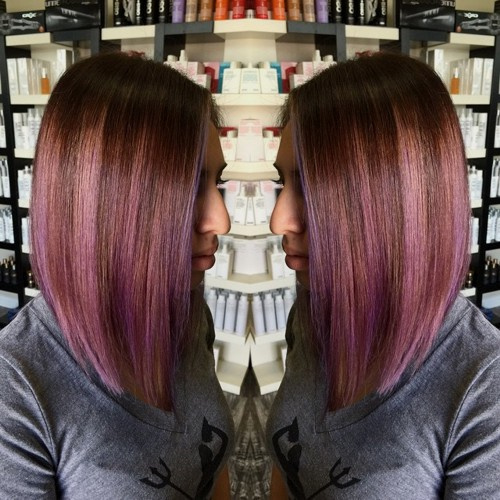 strawberry blonde hair with lavender balayage highlights