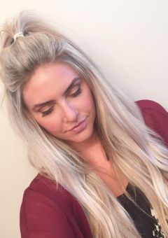 ash blonde messy half ponytail