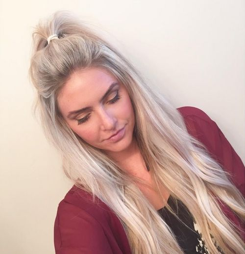 ash blonde messy half ponytail