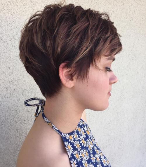 Brunette Pixie with Feathered Layers