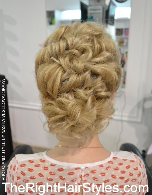 curly updo with a bouffant