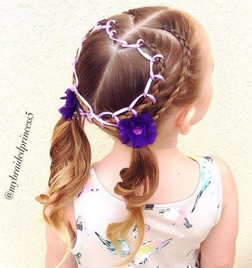 braids with ribbons and pigtails