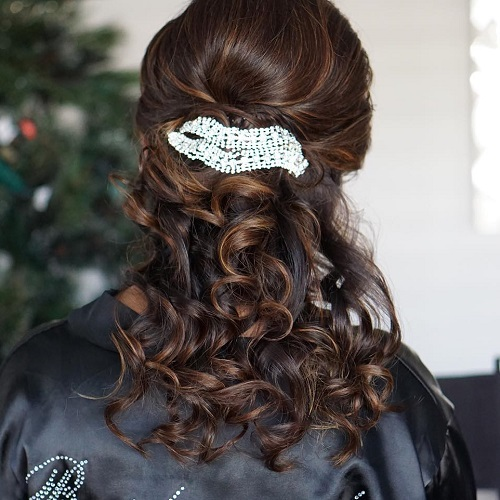Formal Curly Half Ponytail