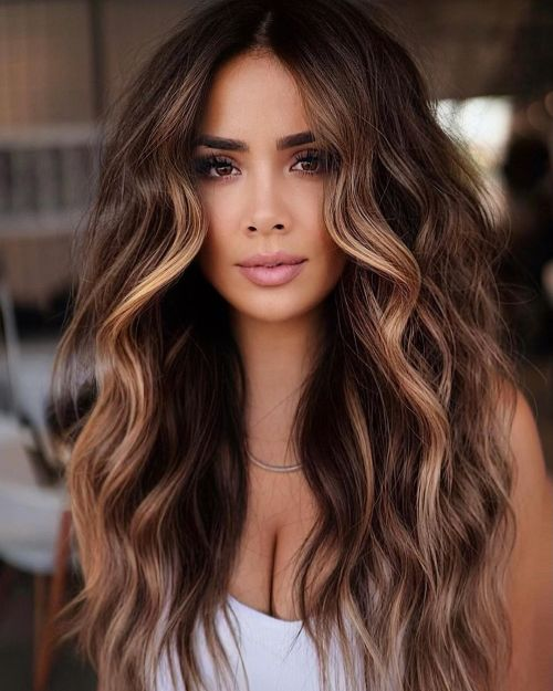 Brown Hair with Face Framing Highlights