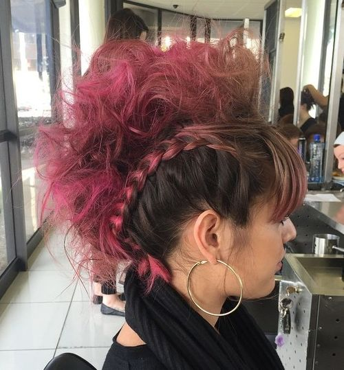 brown and pink faux hawk updo