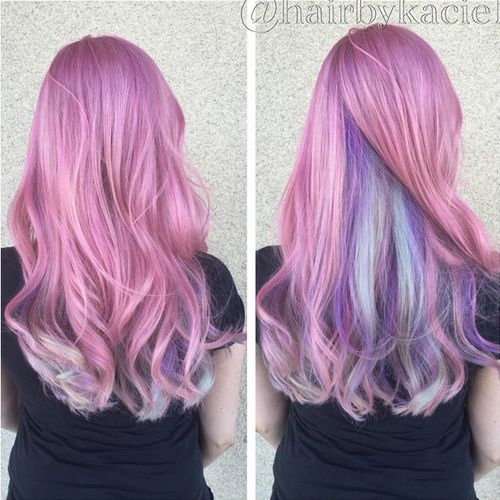 pastel pink hair with blue and lavender underlayer