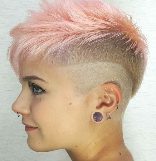 Blonde And Pink Funky Pixie Undercut
