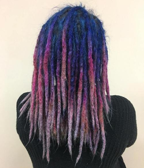 Blue To Pink Layered Ombre Dreads