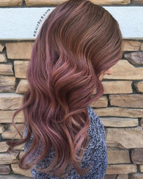 Brown Hair With Subtle Purple Balayage
