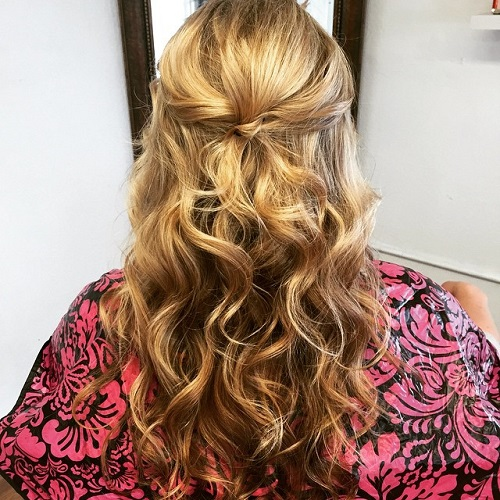 Curly Half Pony For Medium Hair