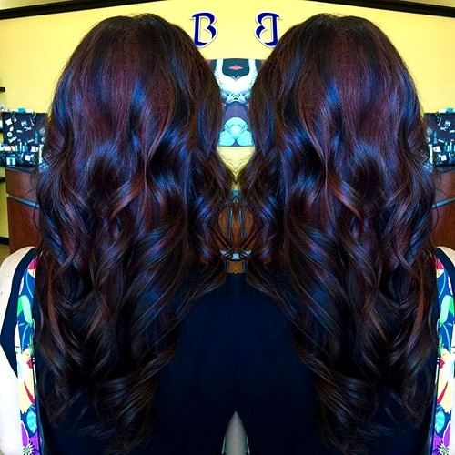 black hair with burgundy highlights