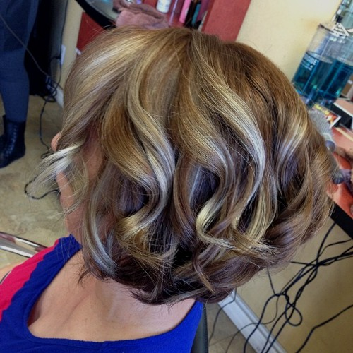 light brown hair with blonde balayage highlights