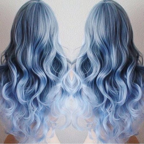 pastel blue ombre for long hair